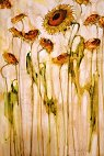 "Michael Hyam  RBA  ""Sunflowers""   Mixed Media on Board   23 x 15"