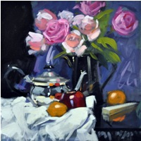 "Jack Morrocco  ""Roses in a Black Jug""  16 x 16   Oil on Canvas  �50"