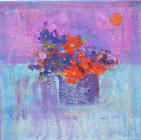 "Jackie Philip  ""Equinox""   Raw Pigment Oil on Canvas 12 x 12   �00"