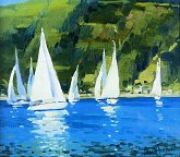 "Helen Turner  PAI (President) ""Yachts""   Oil on Canvas  14 x 16  �50"